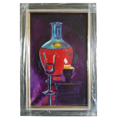 "Still life with a Candle, Oil Painting 12x7"" (30x19cm)"