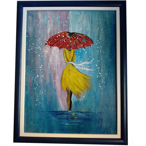 Boldly in the Rain, Acrylic Painting 19x15 in / 47x37 cm