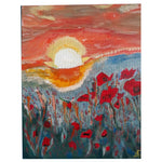 Poppies by Sunset, Oil Painting 10x8 in / 25x20 cm