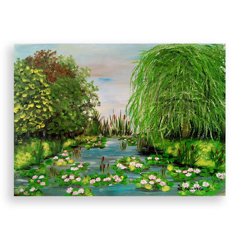 Lake with Lilies, Tempera Painting by Ivanka Alexieva