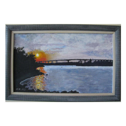 "Sunset Over the Bridge, Oil Painting 12x18.89"" (31x48cm)"