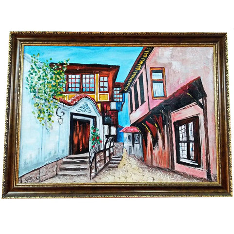 "Old Town Plovdiv, Mixed Painting 31x24"" (80x60cm)"