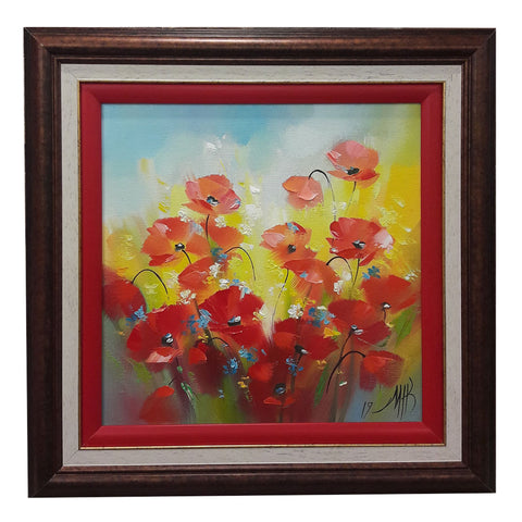 Sunny Poppies, Oil Painting 17x17 in / 43x43 cm