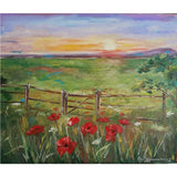 "Rural Landscape with Poppies, Oil Painting 22x18"" (55x46cm)"
