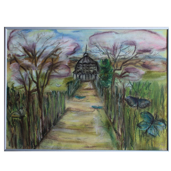 Butterfly Pavilion, Crayon Painting by Ani Georg