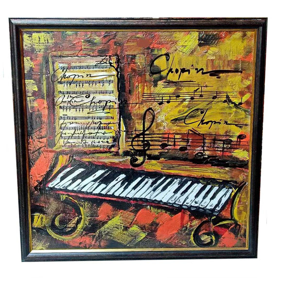 Romantic Piano, Mixed Painting 22x22