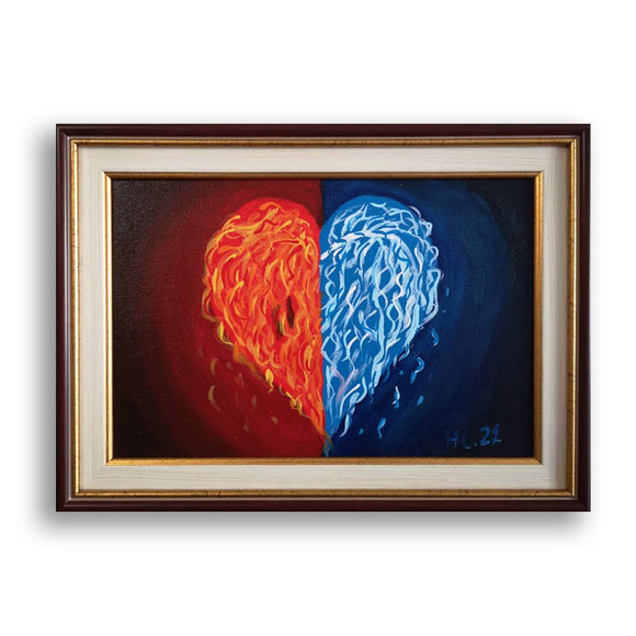 Hearts - Fire and Ice , Acrylic Painting by Diana Ivanova