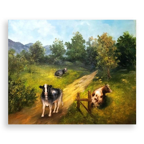 Cows Grazing, Oil Painting by Elena Velichkova