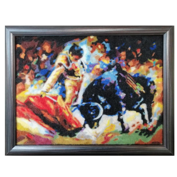 Bullfighting, Wool Textile Painting by Boyan Ivanov