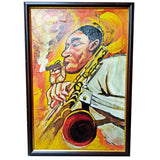 "Sax Man, Mixed Painting 18x26"" (45x65cm)"