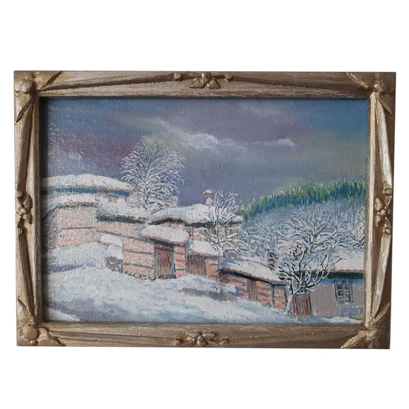 Winter in Zlatograd, Acrylic Painting by Veselin Nikolov