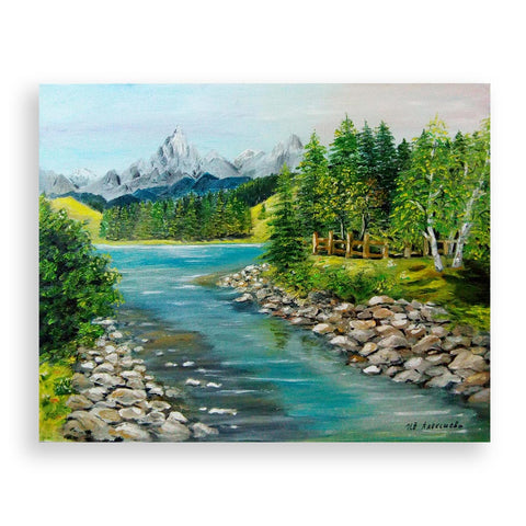 Mountain River, Oil Painting by Ivanka Alexieva