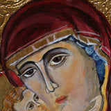 Holy Mary, Painted Christian Icon by Ani Georg