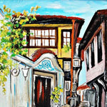 "Old Town Plovdiv, Mixed Painting 14x12"" (35x30cm)"