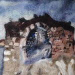 The Fortress, Wool Textile Painting 13x13 in / 32x32 cm