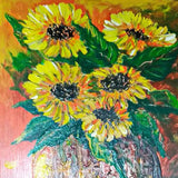 "Sunflowers, Mixed Painting 16x22"" (40x55cm)"