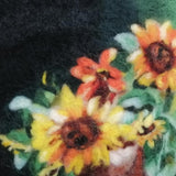 Still Life with Sunflowers, Wool Textile Painting 13x11 in / 34x28 cm