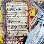 "Violin Sound, Mixed Painting 22x22"" (55x55cm)"