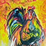 "Rooster, Mixed Painting 16x22"" (40x55cm)"