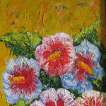 "Hollyhock, Oil Painting 15x7"" (37x17cm)"