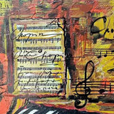 "Romantic Piano, Mixed Painting 22x22"" (55x55cm)"