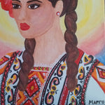 "Girl with Folk Costume, Acrylic Painting 9x12"" (24x30cm)"
