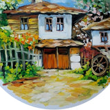 Rural Landscape, Painted Plate by Milena Kamburova