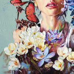 Butterfly Girl, Oil Painting 32x26 in / 81x65 cm