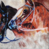 Horses, Wool Textile Painting 13x13 in / 32x32 cm