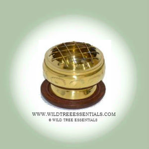 Small Brass Screen Burner with Carved Wooden Coaster - Wild Tree Essentials