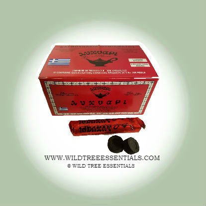 Katateoen Charcoal. 1/2 inch Small Self Lighting Charcoal Tablets, 8 Per Roll. - Wild Tree Essentials