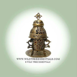 Traditional Brass Church Burner with Coaster Plate - Wild Tree Essentials