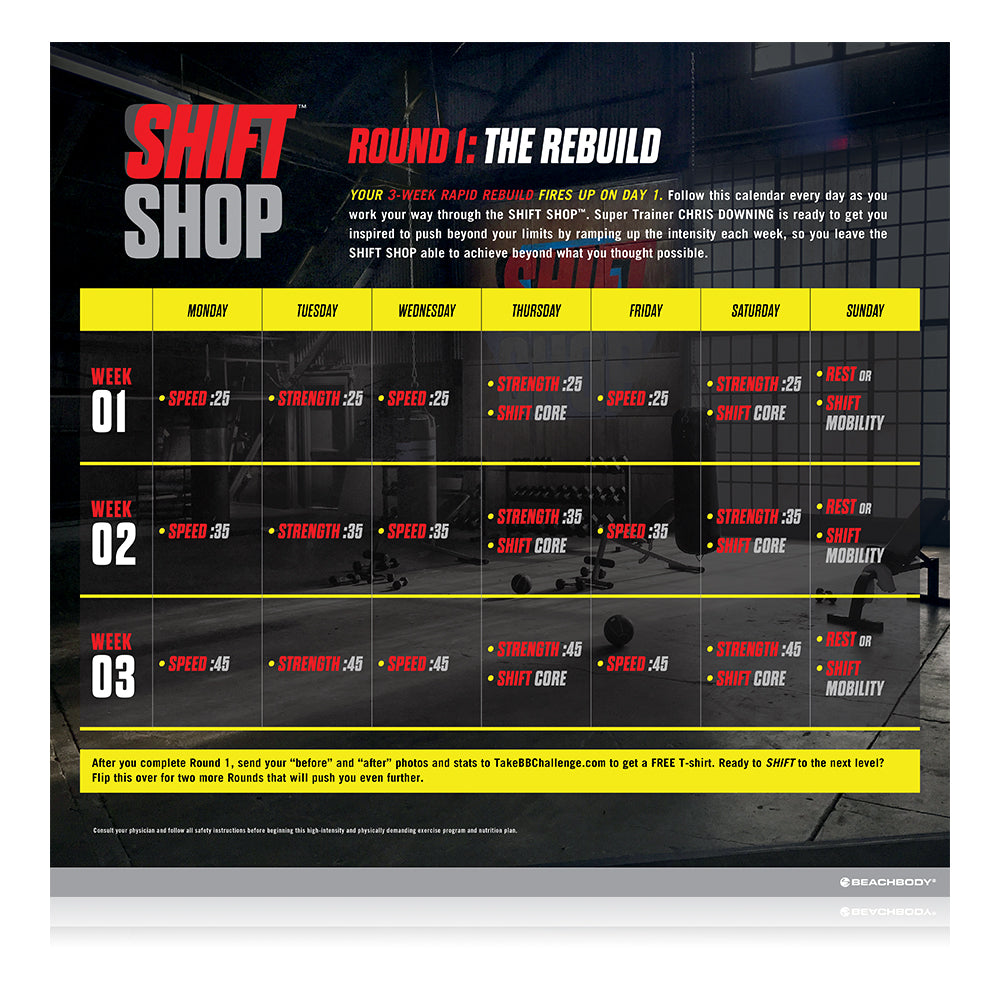 Beachbody Shift Shop New Home Fitness Workout Programme - 8 Cardio and  Strength Workouts with Nutrition Plan