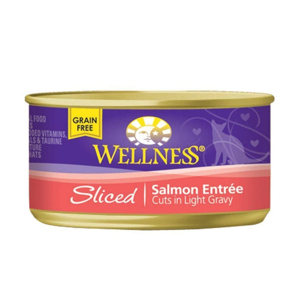 Wellness Natural Sliced Grain-Free Canned Cat Food Variety Pack - 3 Oz. Each - Turkey, Salmon, Chicken (12 Pack Bundle)