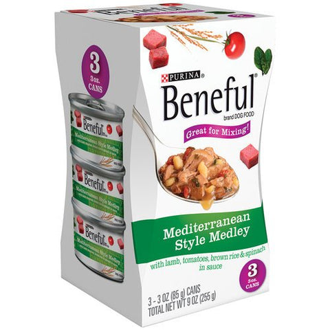 Purina Beneful Mediterranean Style Medley, 3-pack 3 Oz Cans (Case of 8) Total 24 Cans