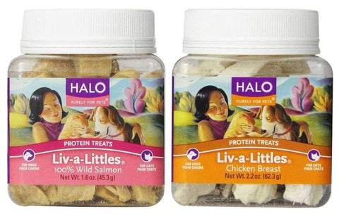 Halo Liv-a-Littles Freeze-Dried Protein Treats for Dogs and Cats 2 Flavor Variety Bundle: (1) Halo Liv-a-Littles Chicken Breast, and (1) Halo Liv-a-Littles 100% Wild Salmon, 1.6-2.2 Oz. Ea. (2 Boxes Total)