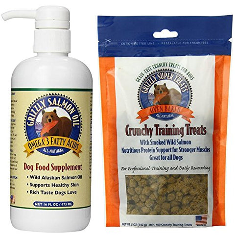 Grizzly Salmon Oil Dog Supplement 16 oz, Grizzly Super Treats Smoked Salmon 5 oz