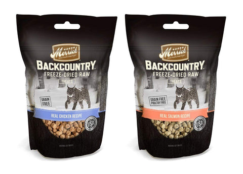 Merrick Backcountry Freeze-Dried Raw Cat Treats Variety Pack, 2 Flavors (Real Chicken & Real Salmon), 1-Ounce Each (2 Total Pouches)