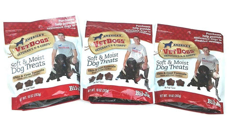 Bil-Jac (3 Pack) America's Vetdogs Skin and Coat Dog Treats, 10 Ounces Each