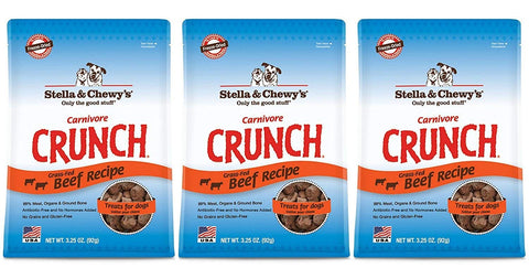 Stella & Chewy's Carnivore Crunch Beef, Freeze-Dried Dog Treats 3.25oz bags (Pack of 3)