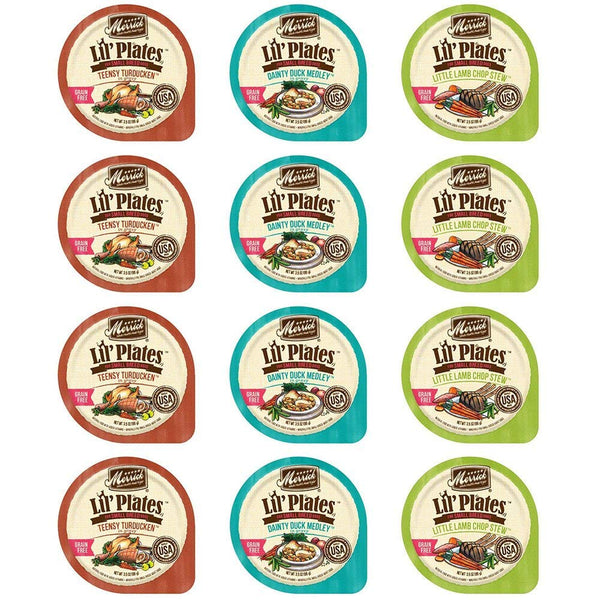 Merrick Lil's Plates Grain Free Wet Food for Small Breed Dogs Variety Pack, 3.5 Oz., (4) Little Lamb Chop Stew, (4) Dainty Duck Medley, (4) Teensy Turducken (12 Pack Bundle)