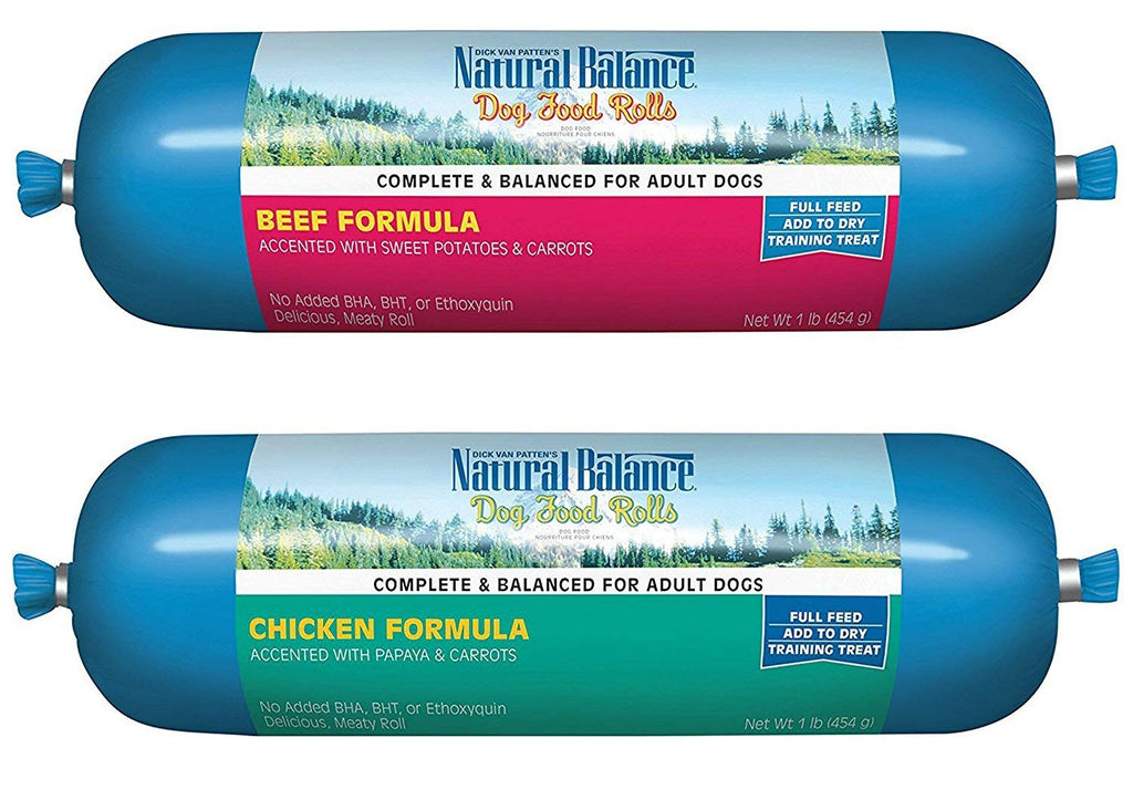 Natural Balance Rolled Dog Food 2 Flavor Variety Bundle: (1) Beef and (1) Chicken, 16 Ounces Each (2 Rolls Total)