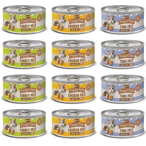 Purrfect Bistro Pate Canned Cat Food Variety Pack (3 Ounces) - Chicken, Tuna, and Turkey (12 Pack)