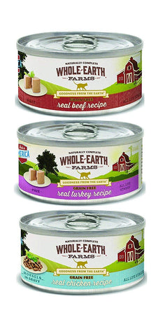 Whole Earth Farms Grain-Free Canned Cat Food Mixed 5 oz x 18 cans – Beef, Turkey, and Chicken