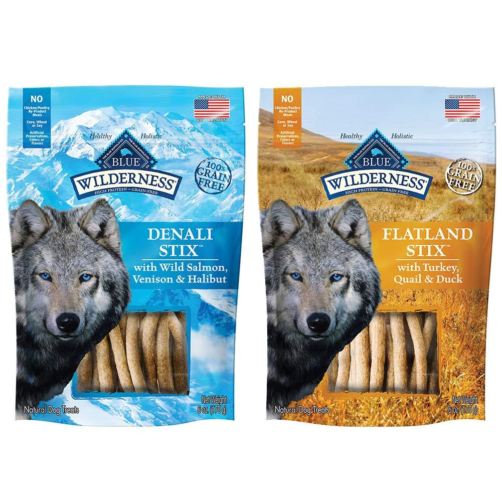BLUE BUFFALO Dog Wilderness Stix Grain Free Soft-Moist Dog Treats Variety Pack - 6 Ounce - Denali Stix and Flatland Feast Stix (2 Pack)