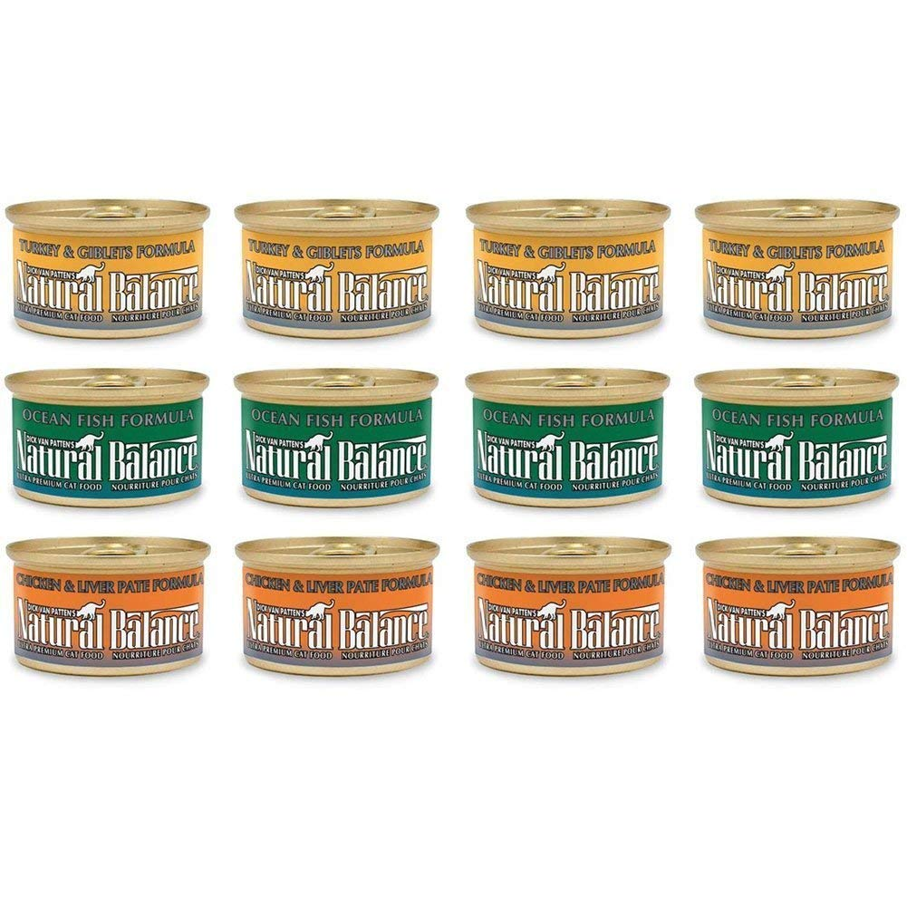 Dick van Patten's Natural Balance Premium Canned Cat Food Variety Bundle: Ocean Fish, Turkey & Giblets, Chicken & Liver Pate (3 Oz. Each, 12 Cans Total)
