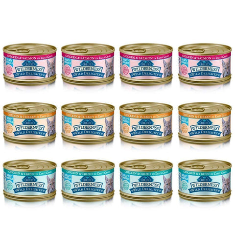Blue Wilderness Wild Delights Grain Free Meaty Morsels Cat Food - 3 Flavors - Chicken & Trout, Chicken & Salmon, and Chicken & Turkey (12 Pack)