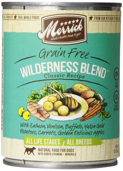 Merrick Classic Grain-Free Recipe Canned Dog Food Variety Pack - 13.2 Oounces - Wilderness Blend, Cowboy Cookout, and Wingaling (12 Pack Bundle)