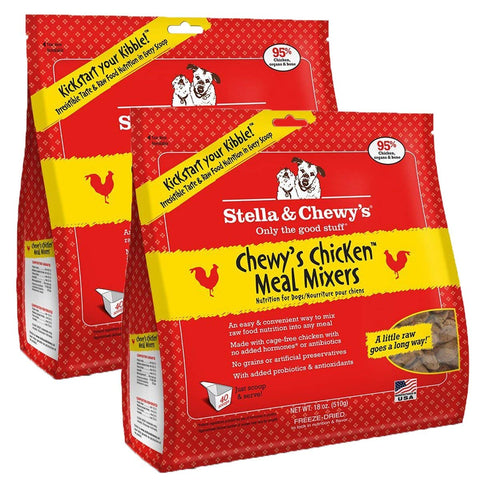 Stella & Chewy's Freeze-Dried Raw Chewy's Chicken Meal Mixers Dog Food Topper, 18 oz bag, 2 Pack