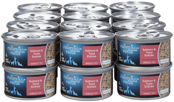 Purina Pro Plan FOCUS Adult 11+ Classic Salmon & Tuna Entree Wet Cat Food - Twenty-Four (24) 3 oz. Pull-Top Cans
